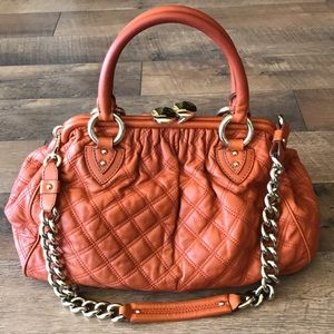Marc Jacobs Stam Orange Quilted Leather Handbag